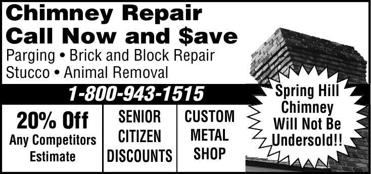 Spring Hill Chimney - Repair, Brick and Block, Animal Removal